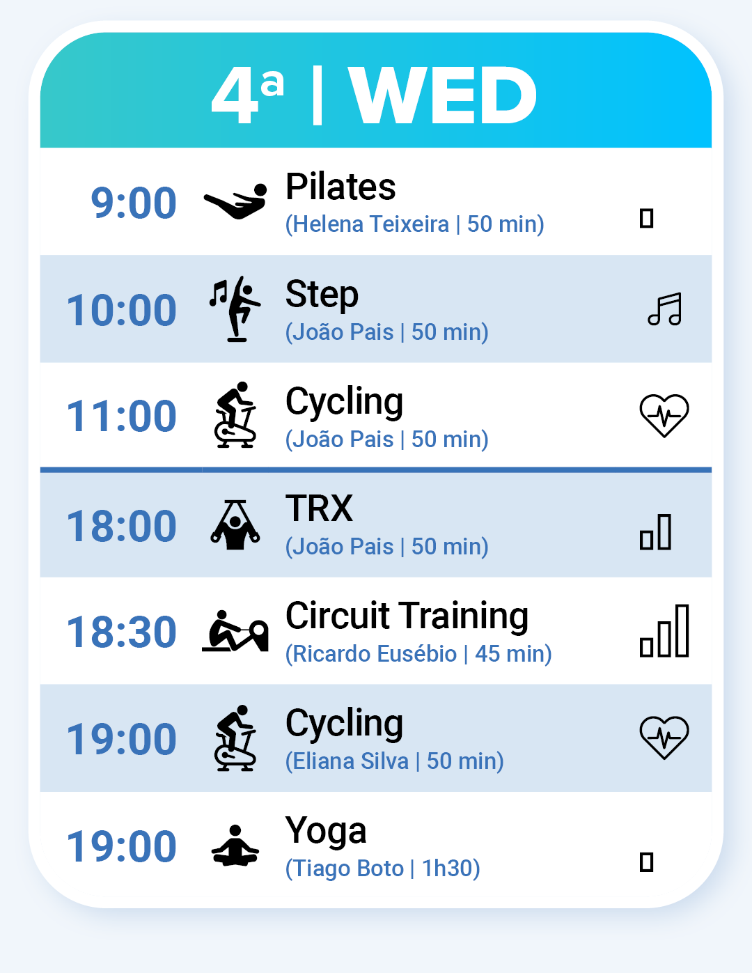 Fitness Classes on Wednesday: Pilates, Step, Cycling, TRX, Circuit Training, Cycling and Yoga.