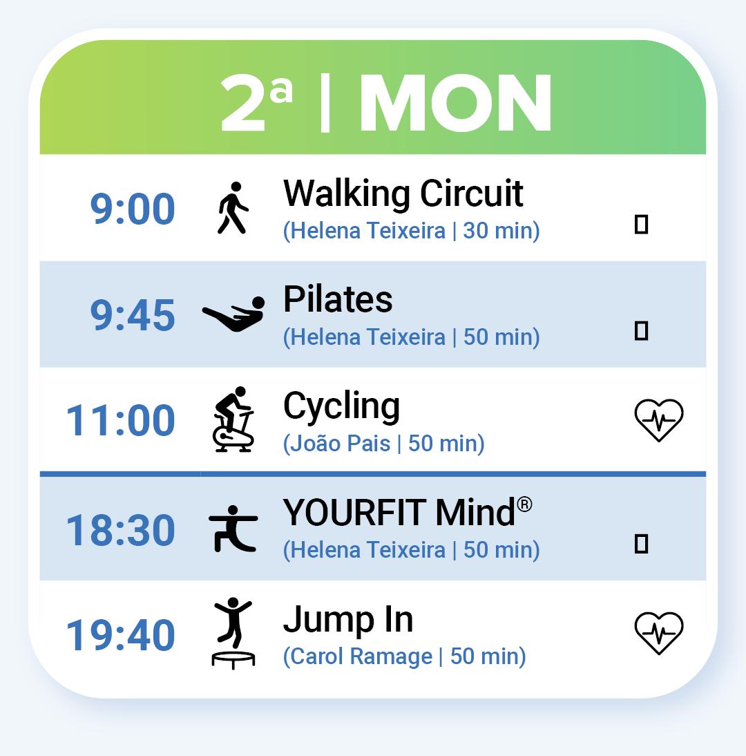 Aulas de Fitness na Segunda-feira: Walking Circuit às 9:00, Pilates às 9:45, Zumba às 11:00, Cycling às 11:00, YOURFIT Mind às 18:30 e Jump In às 19:40.