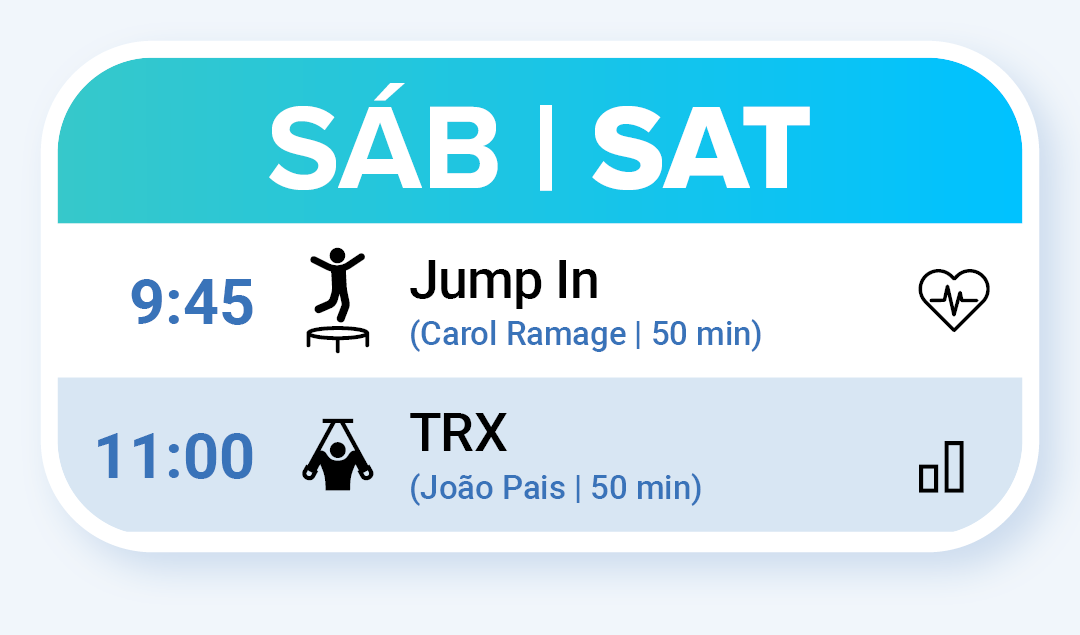 Aulas de Fitness no Sábado: Jump In às 9:45 e TRX às 11:00.