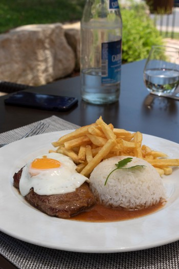 """Bitoque"" Beef steak served with Chips, Rice and Fried Egg"